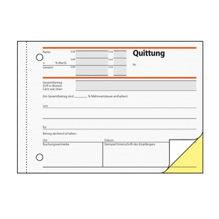 Quittungsblocks A 6 Nr. SD 21 2 x 40 Blatt